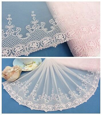 "10""*1Y Embroidered Floral Tulle Lace Fabric Trim~Sweet Pearl Pink~My Happiness~"