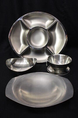 Mixed Lot of Vintage Mid Century Modern Stainless Serving Trays and Dishes
