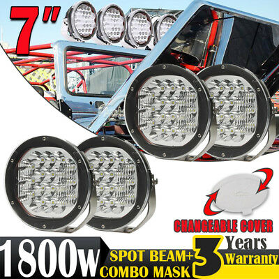 4x 7inch 1800W CREE LED Spot Driving Light Offroad 4WD Headlight ATV Round HID