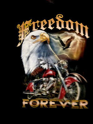 Motor Bike/ Eagle print short sleeve T-shirt black 100% cotton Freedom Forever