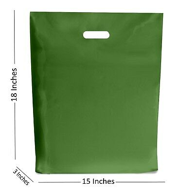 10 LARGE HARRODS GREEN PLASTIC BAGS BOUTIQUE GIFT SHOP CARRIER BAG 15x18+3 INCH
