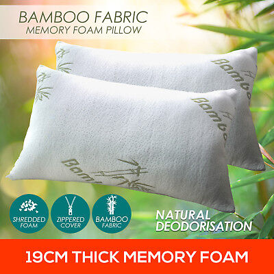 2x LUXO Contour Bamboo Pillow Memory Foam Fabric Fibre Cover Bed Hotel 70 x 40cm