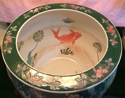VIntage Large CHINESE PLANTER hand painted KOI FISH (INSIDE) FLOWERS (outside)