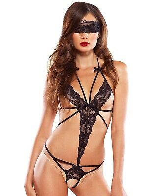 50 Shades Leg Avenue Cage Strap Lace Crotchless Teddy/Body With Blindfold O/S
