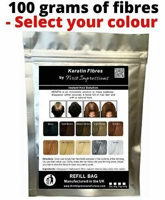 100g Hair Loss Thickening Fibres Building Fiber Refill Bags for ALL top brands.