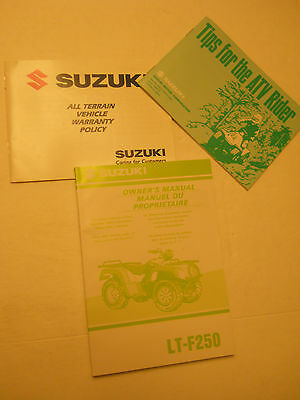 Nos  Suzuki Lt-F250 Owners Manual / Atv Riders Tips Book / Warranty Book