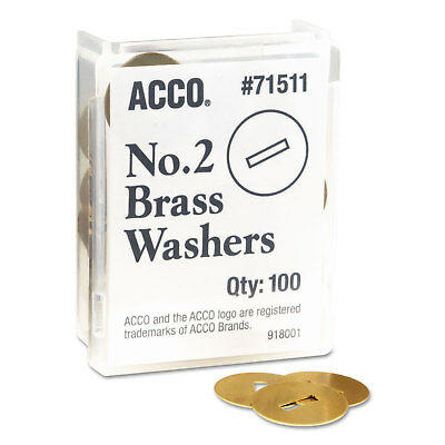 "Washers for Two-Piece Paper Fasteners, 1/2"" Cap, 1 1/4"" Diameter, Gold, 100/Bo"