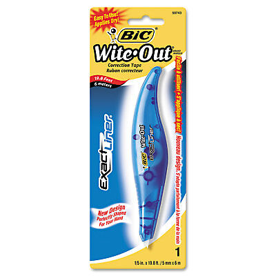 """BIC Wite-Out Exact Liner Correction Tape, Non-Refillable, Blue, 1/5"""" x 236"""""""