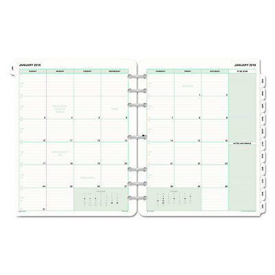 DAYTIMER'S INC. Monthly Classic Refill, 8 1/2 x 11, White/Green, 2018