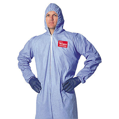 DuPont Tempro Elastic-Cuff Hooded Coveralls, Blue, X-Large, 25/Carton