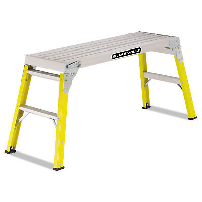 "Fiberglass Mini Working Platform Step Stool, 300 lb Cap, 21"" High, Yellow"
