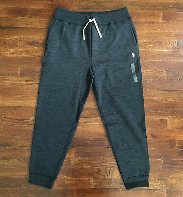 $98 NWT Polo Ralph Lauren Mens Black Heather Jogger Sweatpants Pony Logo String