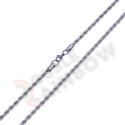 "18-36""Men Stainless Steel Gold/Black/Silver 5mm Rope Link Chain*C11"