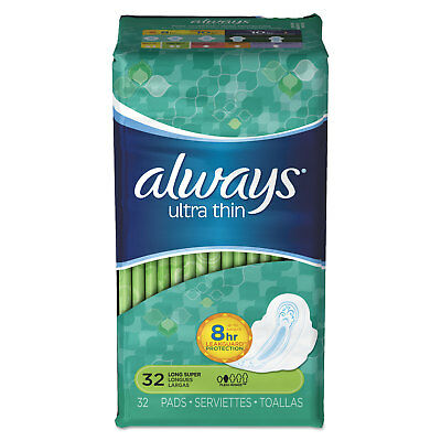 PROCTER & GAMBLE Ultra Thin Pads with Wings, Super Long, 32/Pack, 6/Carton