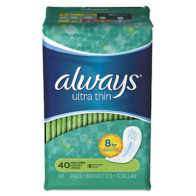 Always PROCTER & GAMBLE Ultra Thin Pads, Super Long, 40/Pack, 6 Pack/Carton