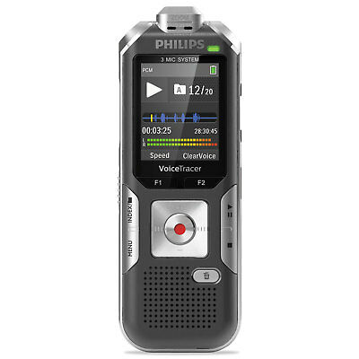 PHILIPS SPEECH PROCESSING Voice Tracer 6010 Digital Recorder, 8 GB, Gray/Silver