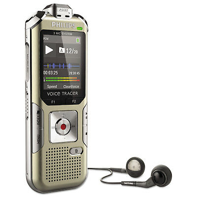 PHILIPS SPEECH PROCESSING Voice Tracer 6500 Digital Recorder, 4 GB Memory, Gold