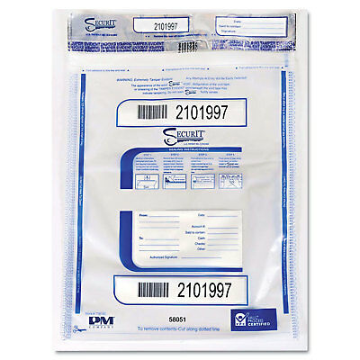 Triple Protection Tamper-Evident Deposit Bags, 20 x 24, Clear, 50/Pack