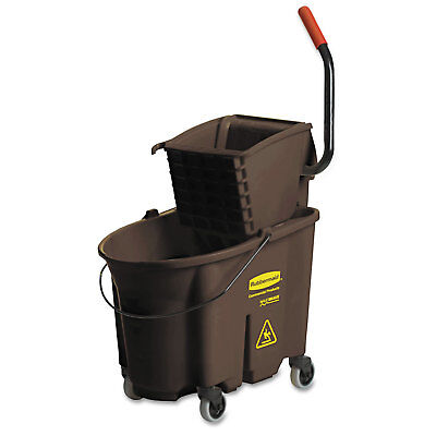 RUBBERMAID COMMERCIAL Wavebrake 35 Quart Bucket/Wringer Combinations, Brown