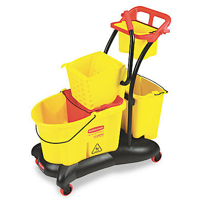 RUBBERMAID COMMERCIAL WaveBrake 35 Quart Mopping Trolley Side Press, Yellow