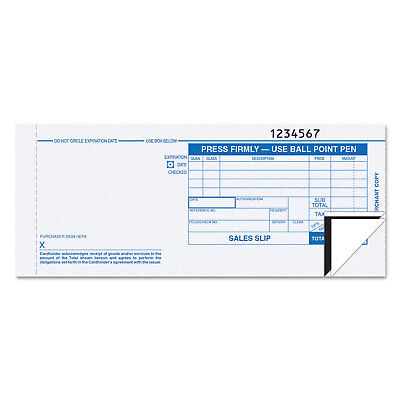 TOPS Credit Card Sales Slip, 7 7/8 x 3-1/4, Three-Part Carbonless, 100 Forms
