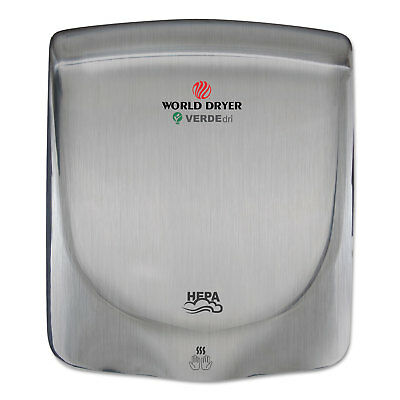 WORLD DRYER CORPORATION VERDEdri Hand Dryer, Stainless Steel, Brushed