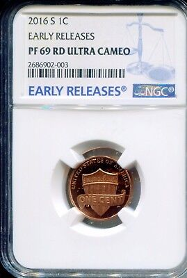 2016 S 1C - NGC PF 69 RD - Lincoln Shield Cent Proof  Ultra Cameo Early Releases