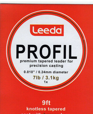 Leeda Profil Tapered 9Ft Leaders (No Droppers) £2.23 Ea Or 3 For £6.50
