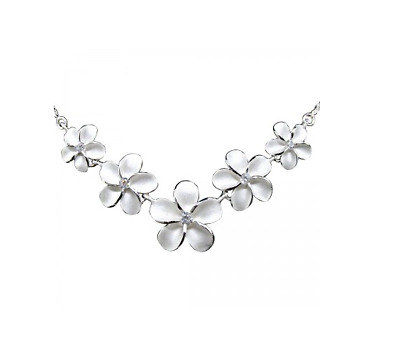 Sterling Silver 925 Rhodium plated Plumeria Bouquet Rope Necklace Floral Flowers
