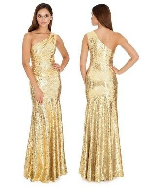 14690130d2cc Goddiva Gold Long Sequin One Shoulder Evening Maxi Gown Dress Prom Party  Ball