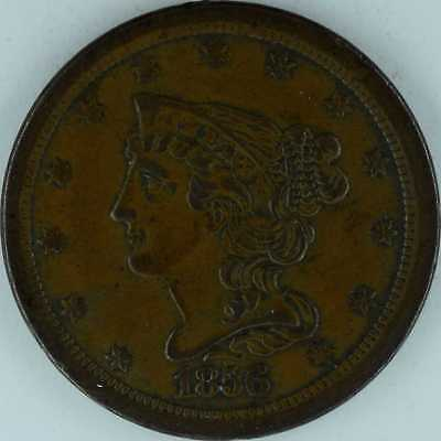 1856 Braided Hair Half Cent Almost Uncirculated