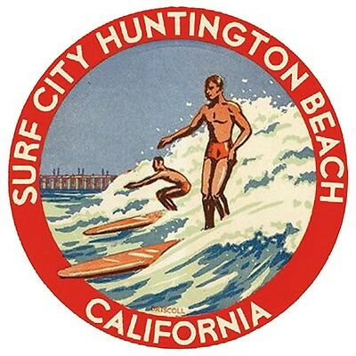 Surf City Huntington Beach Ca Vintage Style 1960 S Travel Sticker Decal