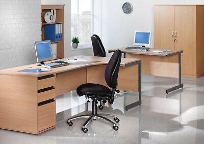 Straight Desk With Pedestals, Drawer Options, Melamine Worktop, H Frame Legs