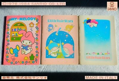 🌟 Sanrio Vintage LITTLE TWIN STARS Kiki Lala MY MELODY 1984 3 QUADERNI Notebook