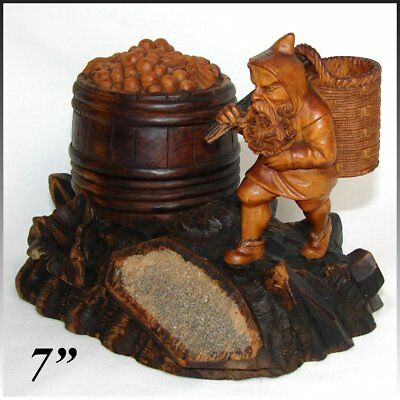 Charming Antique Black Forest Carved Smoker's Stand, Gnome Figure Tobacco Barrel