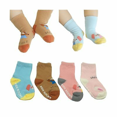 Assorted Non-Skid Ankle Cotton Socks with Grip FlyingP 4 Pairs Baby Walker Bo...