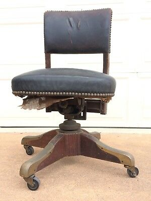 Antique Revolving Swivel Office Desk Arm Chair (Circa 1933) Needs Restoration