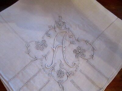 Vintage Madeira Embroidered White A  monogram hanky, fancy, hand rolled