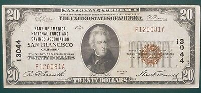 1929 $20 National Currency - Bank Of America San Francisco - Nice