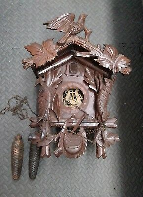 Antique 8 Day Hunter Cuckoo Project Clock With Lyre Mvm't For Parts Or Restore