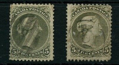 VF #26 FIVE cent LARGE QUEEN two shades fine Cat $270 stamp Canada used