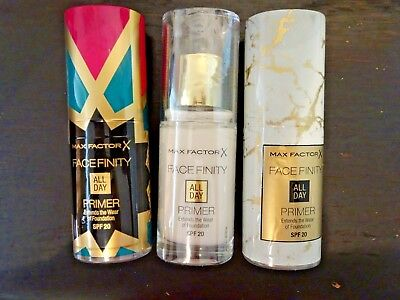 MAX FACTOR FACEFINITY ALL DAY PRIMER 30ml SPF20 Sealed Choose Luxe Limited Ed