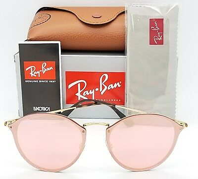 781777dc86 NEW Rayban Blaze Round Sunglasses RB3574N 001 E4 59mm Gold Pink Mirror  AUTHENTIC