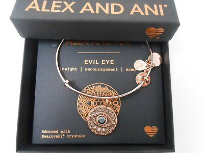 Alex and Ani Evil Eye Bangle Bracelet Rose Gold New Tag Box Card 2018
