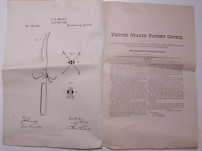 Pre-1919 Patent Notice JD Frary Cutlery Carving Fork #181665 1876 Ephemera L926C