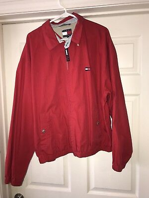 Tommy Hilfiger Vintage Zip Up Jacket Spell Out Collar Red Blue Sz