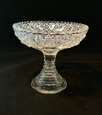 Vintage cut glass crystal tall pedestal nappy/candy/nut dish