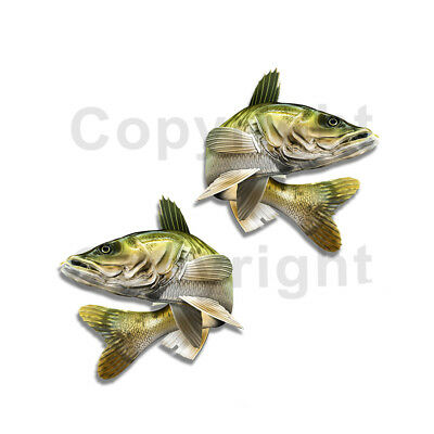 4X4 Fishing Camo Decal Walleye TRUCK DECALS Camouflage Laminated 2 pack MK168NO4