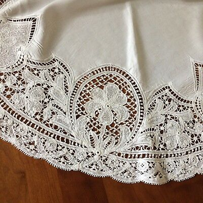 "ANTIQUE tablecloth silky ivory linen battenburg tape lace EDWARDIAN 32"" rd"