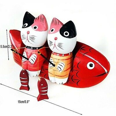 Wooden Cat Handmade Art Wood Display Hand Carved Fishing Home Decor Gift New